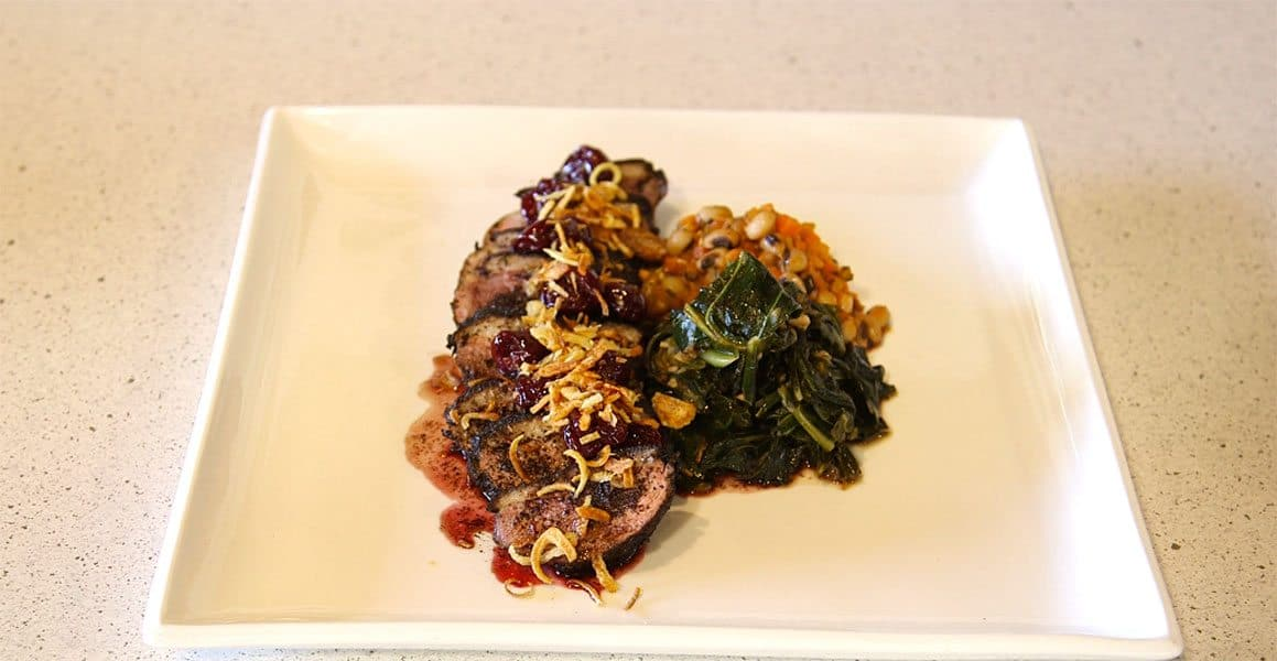 Coffee-rubbed Duck Breast With Black-eyed Pea Ragout, Collard Greens & Sour Cherries